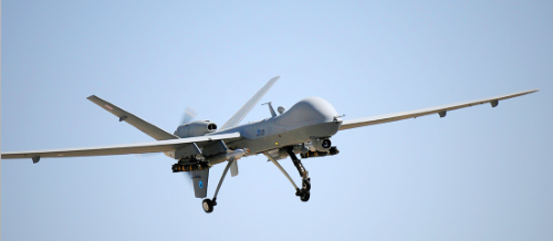 RAF Reaper remotely piloted air systems controlled using satellite communications.