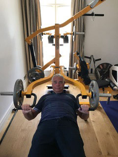 Alan in training at his home gym
