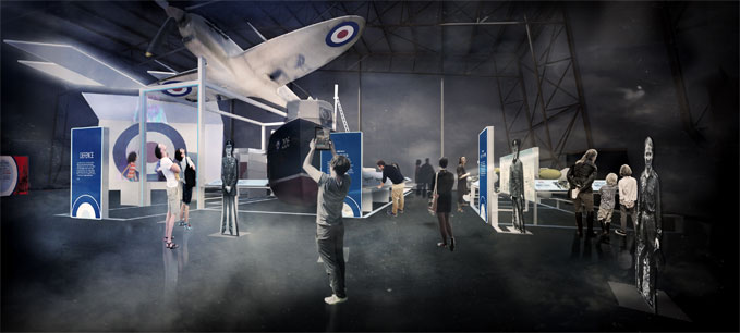 An artist's impression of 'Defence' part of the First 100 Years of the RAF exhibition