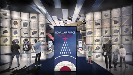 An artist's impression of the entrance to the First 100 Years of the RAF exhibition