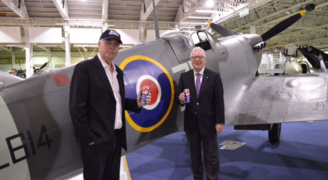 Alan and Robin enjoying a can of Shepherd Neame's Spitfire Ale, after a gruelling planning session at the Museum