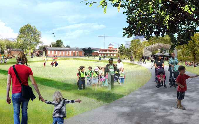 An artist's impression of what the new 'village green' will look like