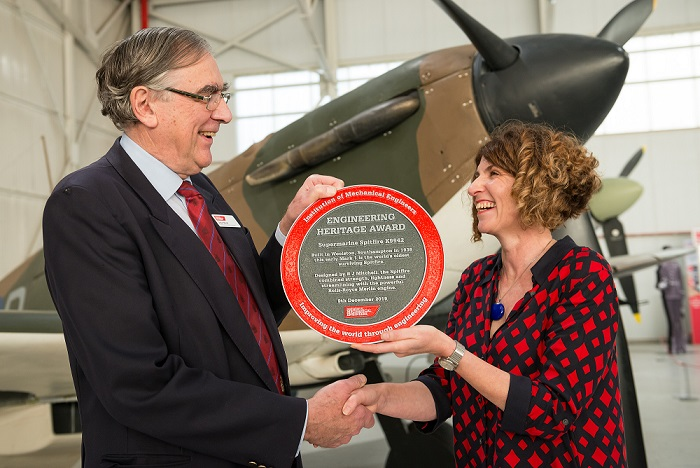 Current Chair of IMechE's Engineering Heritage Committee John Wood and RAF Museum CEO Maggie Appleton