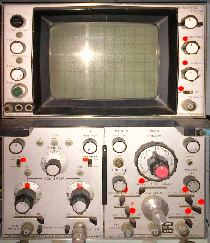 the front panel of a commercially made oscilloscope