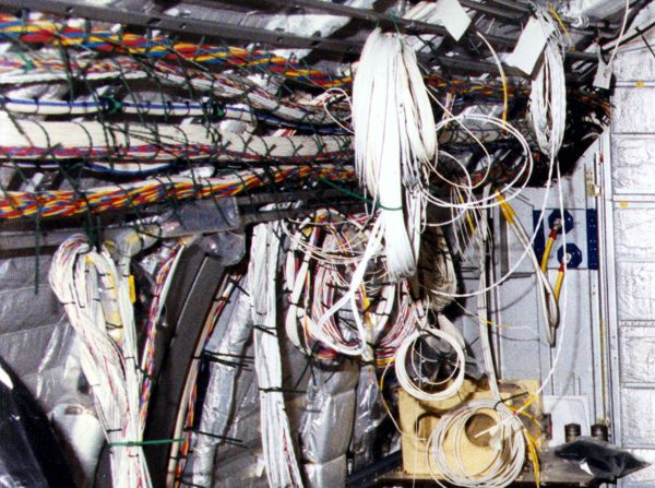 Complicated nest of wires during aircraft conversion