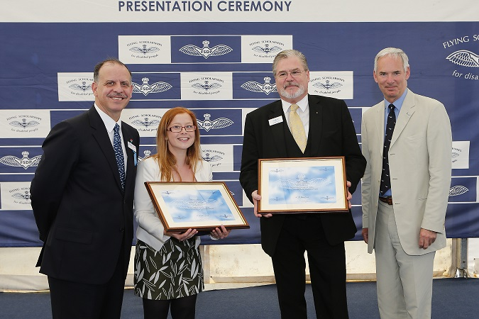 Bethany and her fellow scholar being presented with their scholarship certificates by FSDP patron HRH Prince Faisal of Jordon and Chief of the Air Staff (CAS) Sir Andrew Pulford