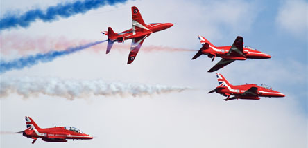 From 9 July fly with the Red Arrows