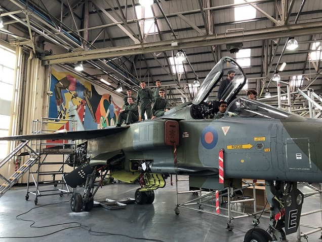 STAAR students and Jaguar aircraft at RAF Cosford