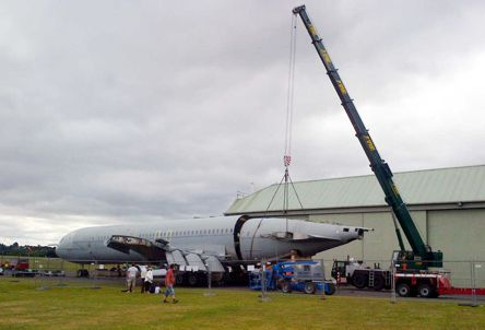 Rear fuselage being lifted into position for re-attachment