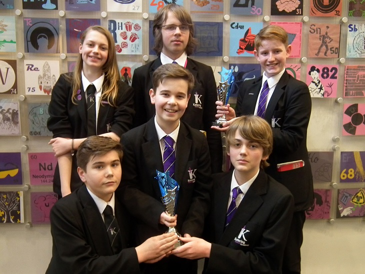 Students from Kettering Science Academy with their winners trophies