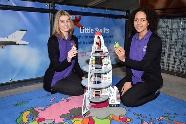 Students with the rocket wooden toys