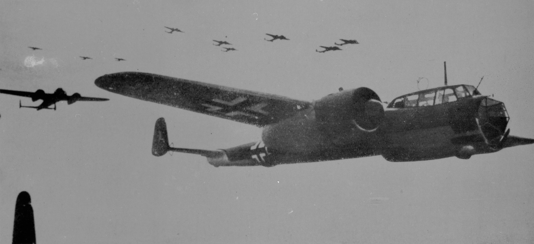 A large formation of Dornier Do 17Z bombers in flight (RAF Museum Copyright)