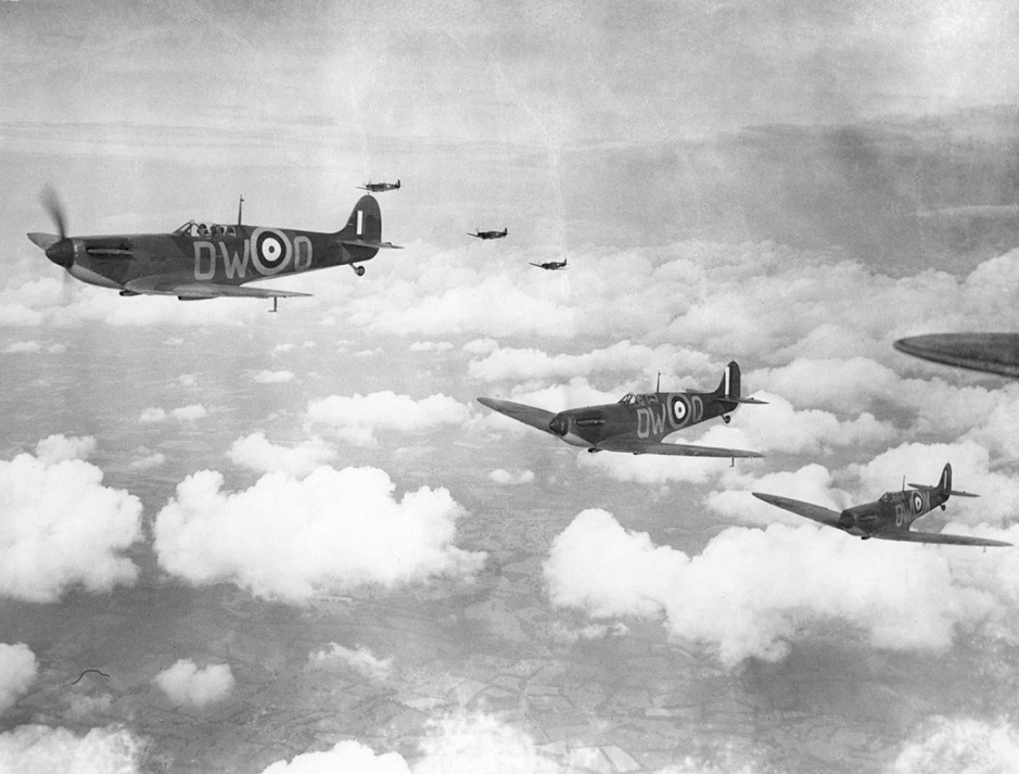 RAF Pilots in flight over the Kent countryside summer 1940