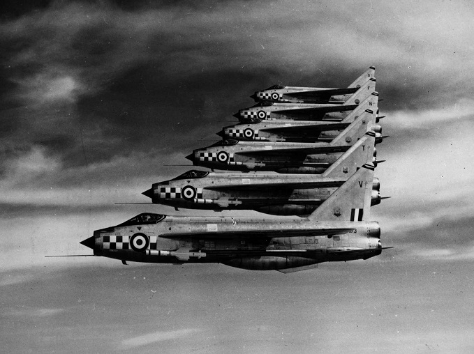 Six English Electric Lightning F1A's flying in close formation