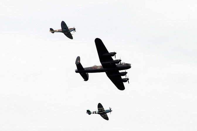 Spitfire, Hurricane and Lancaster fly in for Large Model Air Show