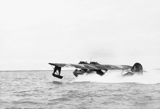 : A Consolidated Catalina of No.43, Royal Australian Air Force, about to take flight from water near Darwin, Australia, 24 June 1944. Courtesy of the Australian War Memorial Archives: