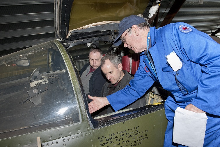 Visitors can sit inside the F-111