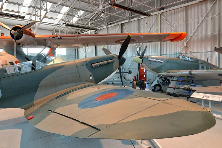 The Spitfire and Hurricane on display at the RAF Museum Cosford