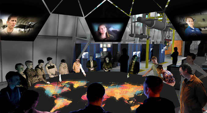An artist's impression of one of the proposed interactive displays at London