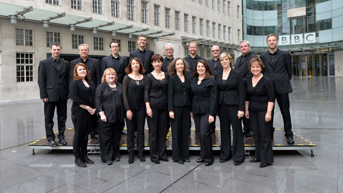 The BBC Singers, outside of Broadcasting House