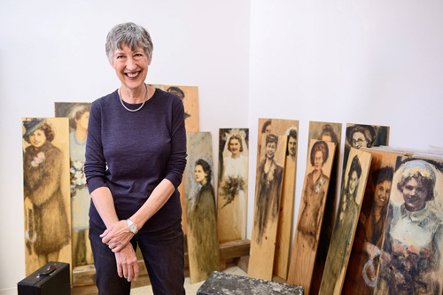 Bev Tosh with some of her art