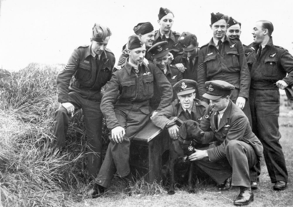 The Dambusters crew with the Squadron's Dog