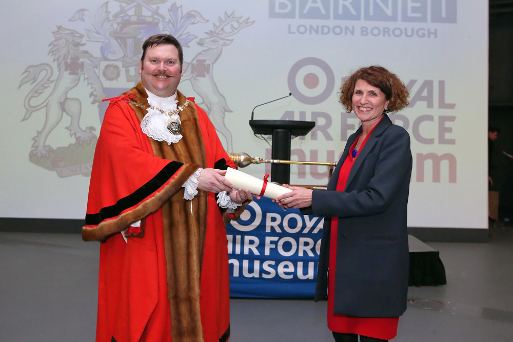 Councillor Reuben Thompstone, The Worshipful Mayor of Barnet presenting Museum CEO Maggie Appleton with the Museum's Freedom of the Borough