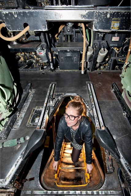 Girl entering Vulcan Aircraft