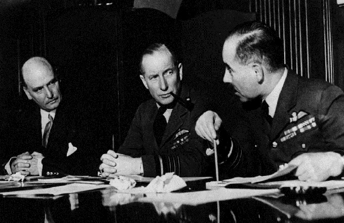 Sir Arthur Street, ACM Sir Wilfred Freeman and AM A.G.R. Garrod at  a session of the Air Council at the Air Ministry, March 1941