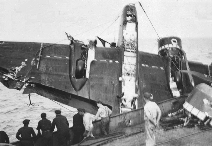 Handley Page Hampden being lifted by crane out of the water