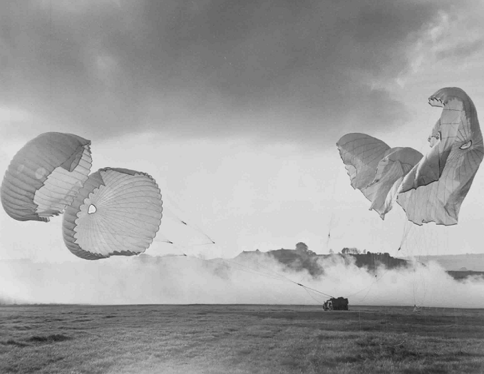 Dropping supplies by parachute