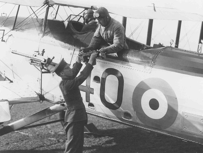 Aerial Camera being handed to crew of Fairey Gordon