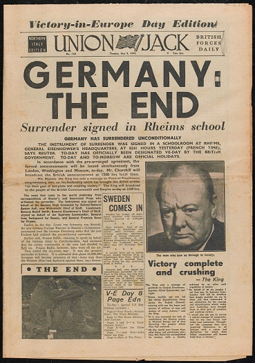 Union Jack British Forces daily newspaper, Northern Italy Edition, No 140, 8 May 1945
