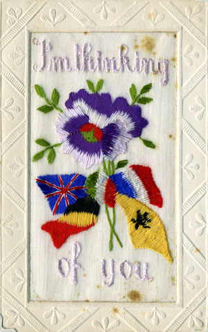 A love token in the form of an embroidered card