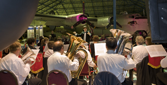 The Barnet Band playing underneath our Lancaster
