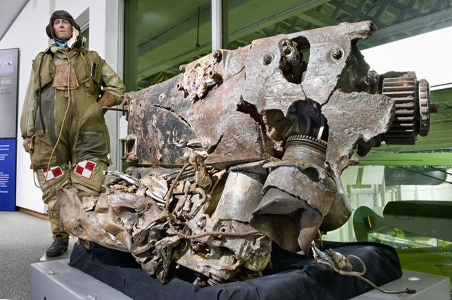 The engine from a Messerschmitt shot down by members of 303 (Polish) Squadron.
