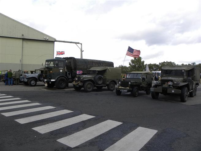 A selection of American Army military vehicles brought by enthusiasts for the day.