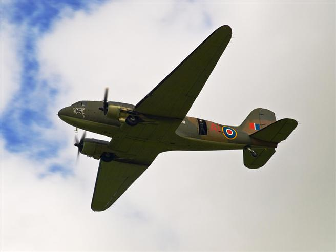 The Battle of Britain Memorial Flight's Dakota honouring the Museum with a flypast.