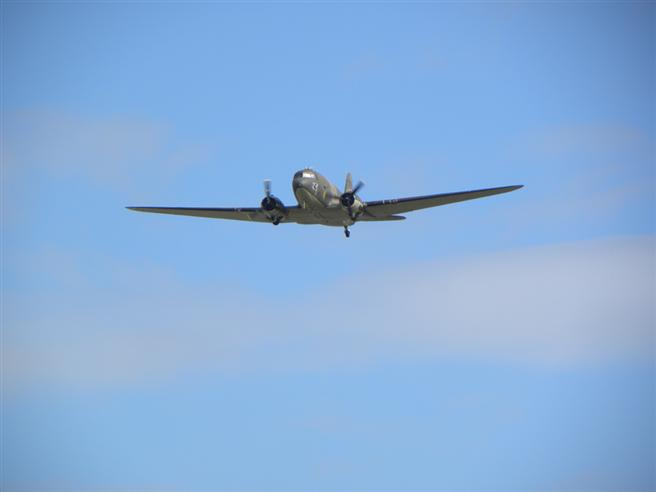 The Battle of Britain Memorial Flight's Dakota making a second pass over the Museum.