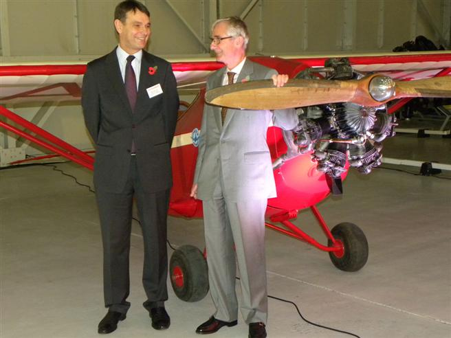 Peter Dye and Alex Henshaw Jnr with the unveiled aircraft.