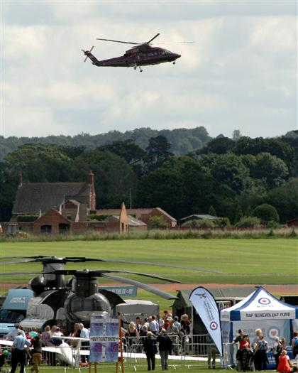 The Queen and Duke arrive by helicopter