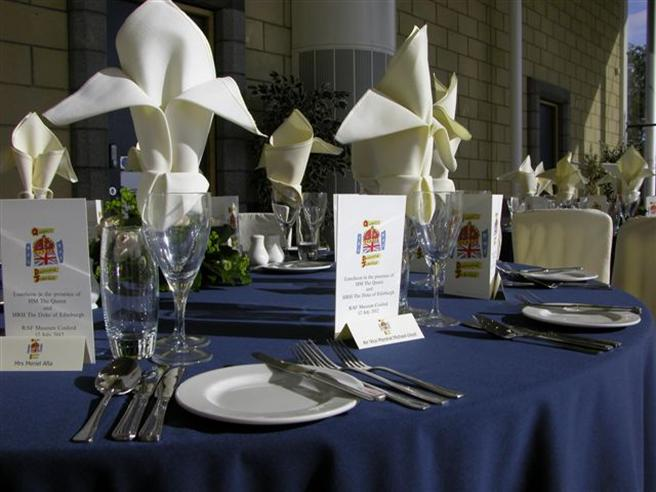 Table setting for Shropshire Diamond Jubilee Pageant attended by Her Majesty The Queen