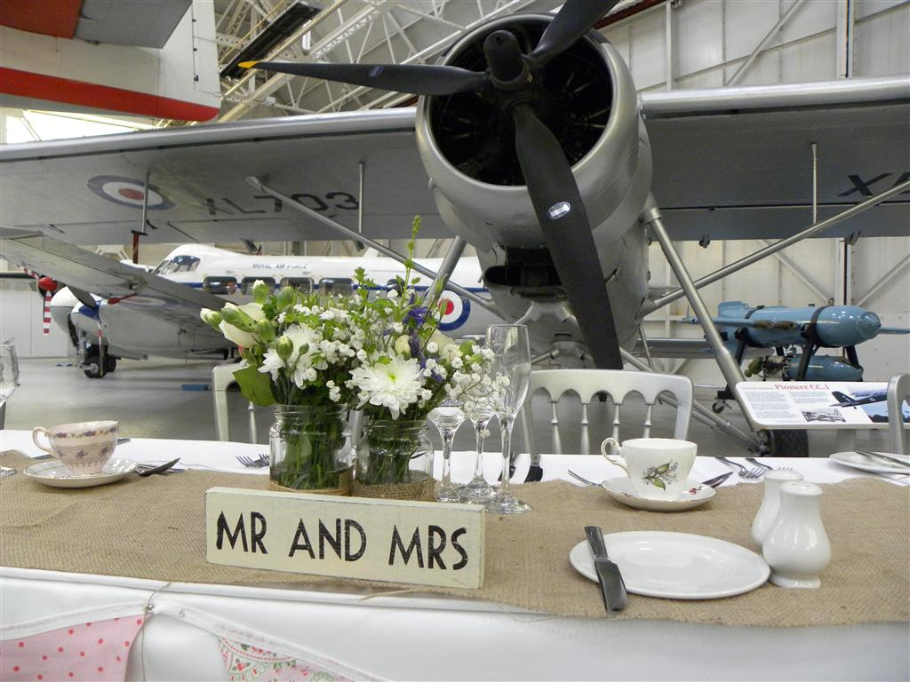 A fantastic vintage wedding reception held in the Museum's Hangar 1.