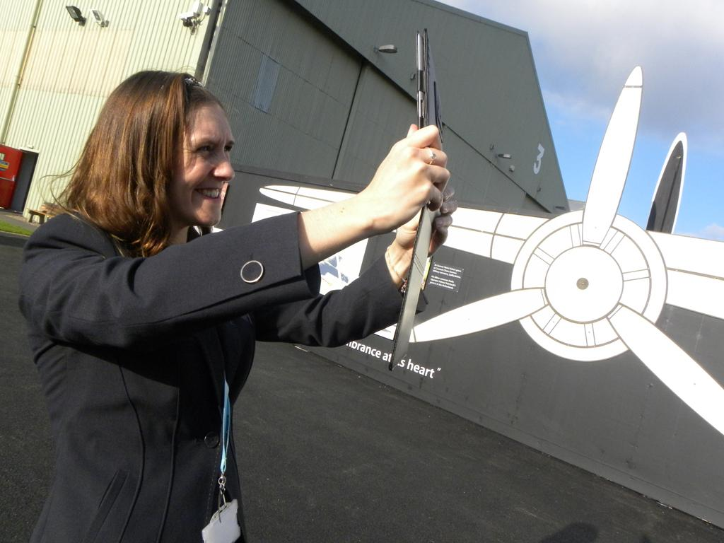 Louise showing how the new App works and seeing the Dornier Do 17 fly with augmented reality