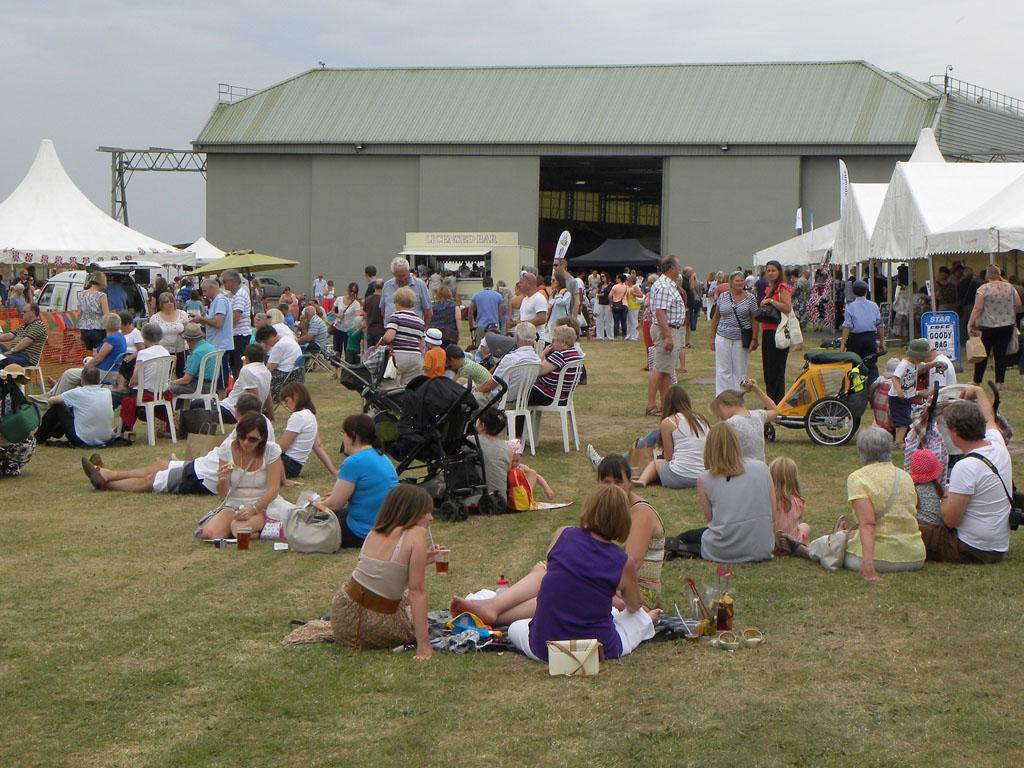 Crowds relaxing and enjoying the food and drink on offer
