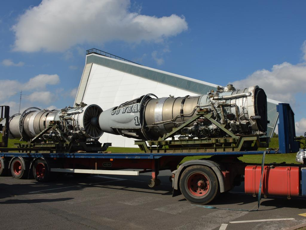 Arrival of engines towards the end of the reassembly work.