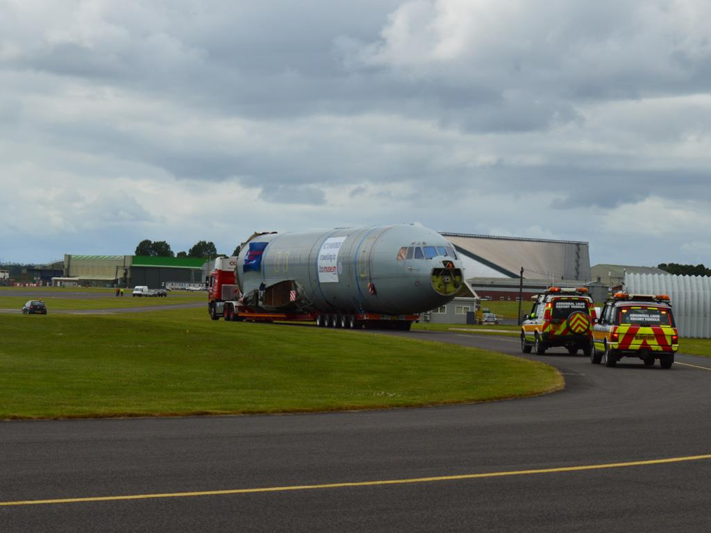 Arrival at Cosford airfield where the aircraft was parked up for the start of the reassembly process.
