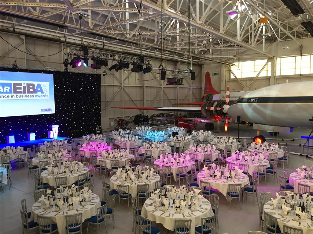 We can seat up to 300 guests in a gala dinner setting in Hangar 1.