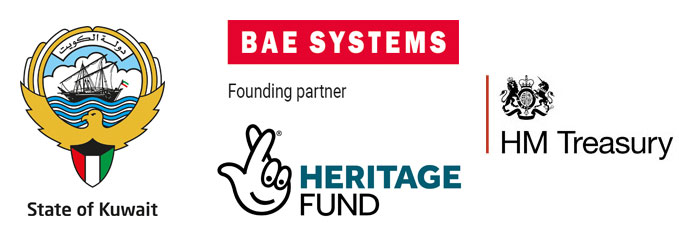The State of Kuwait, Heritage Lottery, BAE Systems and HM Treasury logos