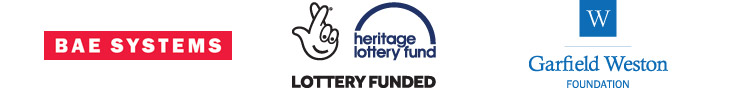 The BAE Systems, Heritage Lottery Fund, and Garfield Weston Foundation logos